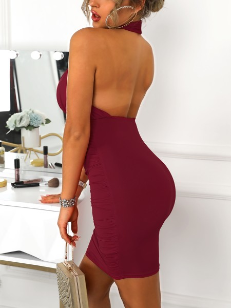 Halter Ruched Design Bodycon Dress