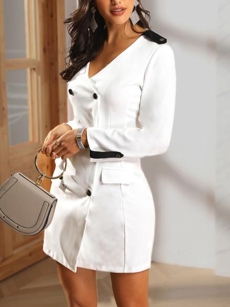 V-Neck Double Breasted Pocket Blazer Dress