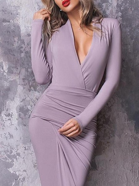 Deep V-Neck Wrap Thigh Slit Bodycon Dress