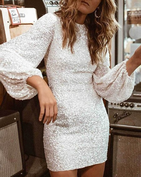Glitter Round Neck Lantern Sleeve Sequins Bodycon Dress