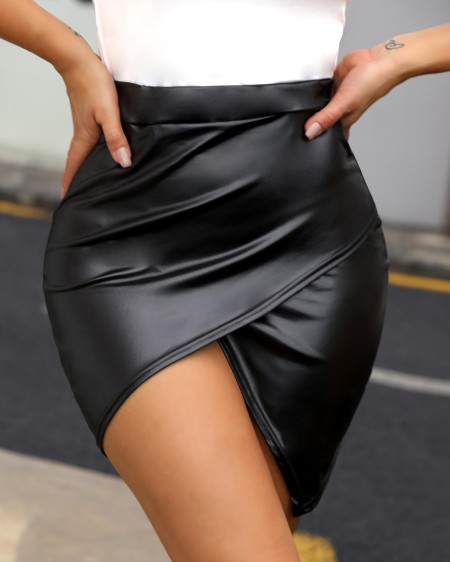 High Waist Surplice PU Slinky Skirt