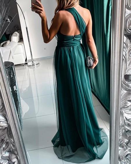 Solid Multiway Mesh Maxi Dress