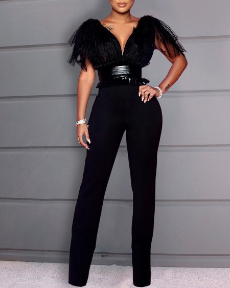 Patchwork Mesh Tight Waist Backless Jumpsuit