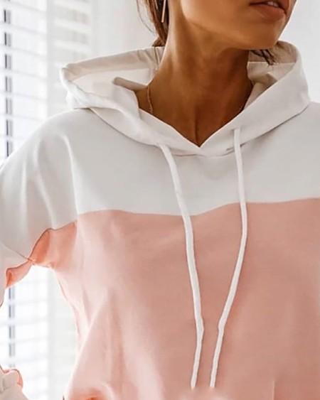 Colorblock Hooded Casual Sweatshirt