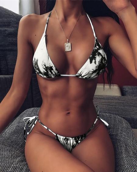 Halter Tie Dye Print Bikini Set