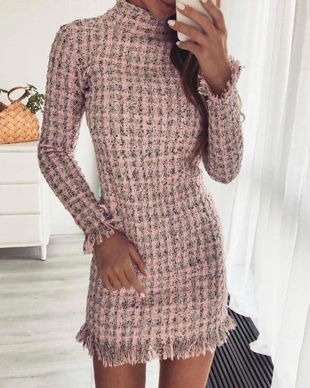 Long Sleeve Fringe Hem Tweed Bodycon Dress