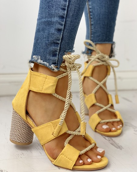 Colourblock Lace-up Chunky Heels Open Toe Sandals