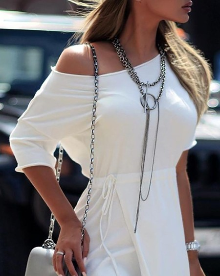 Solid Long Sleeve Drawstring Design Dress