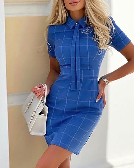 Gingham Print Short Sleeve Bodycon Dress