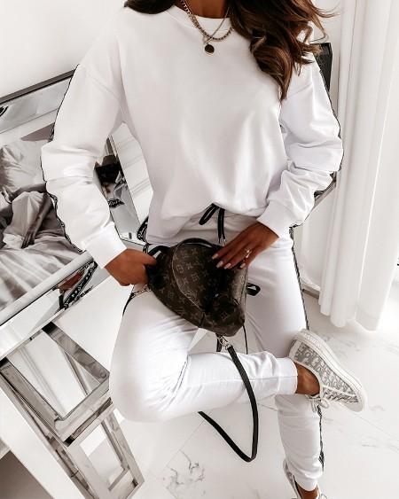 Tape Design Long Sleeve Top & Drawstring Pants Set