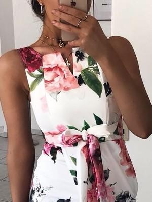 Floral Print Tie Waist Wrap Split Bodycon Dress