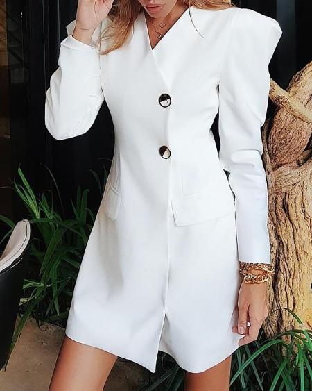 Puffed Sleeve Buttoned Blazer Dress
