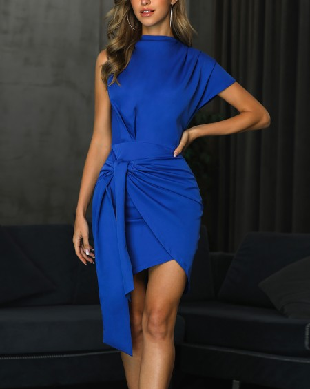 Ruched Overlap Cutout Back Bodycon Dress
