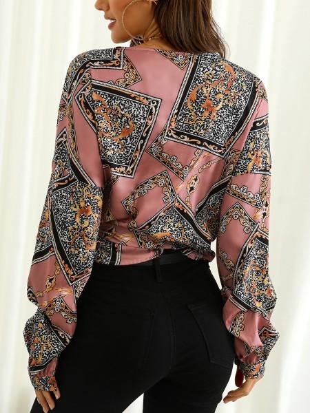 Vintage Tie Waist Bishop Sleeve Wrap Blouse