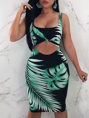 Leaf Print Cutout Bodycon Dress