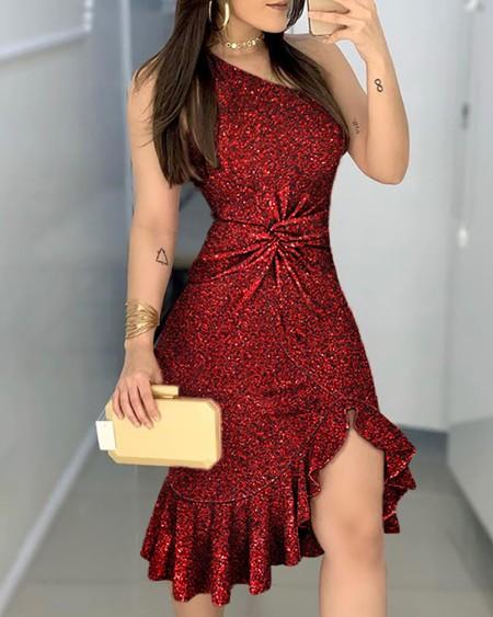Glitter One Shoulder Twisted Ruffled Dress