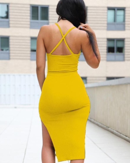 Sexy Women High Slit Bodycon Slip Dress