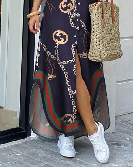 Chain Print Slit Dip Hem Shirt Dress
