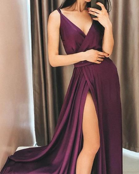 Spaghetti Strap Thigh Slit Evening Dress