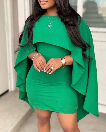 Plain Cape Sleeve Bodycon Dress