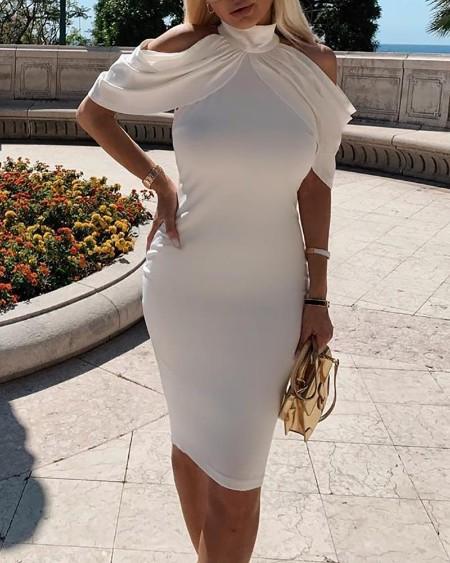 High Neck Cold Shoulder Ruched Dress