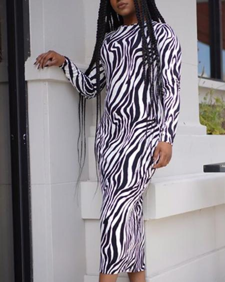 boutiquefeel / Round Neck Long Sleeve Zebra Print Slinky Dress