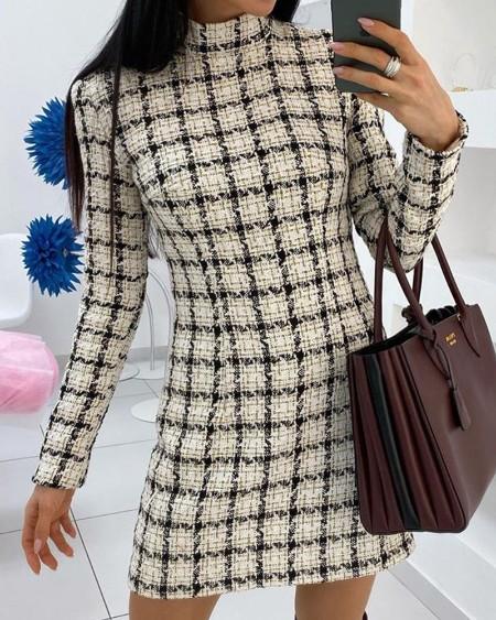 Mock Neck Grid Print Dress