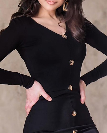 Solid Single Breasted Slit Bodycon Dress