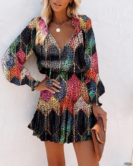 Multicolor Leopard Long Sleeve Skinny Waist Dress