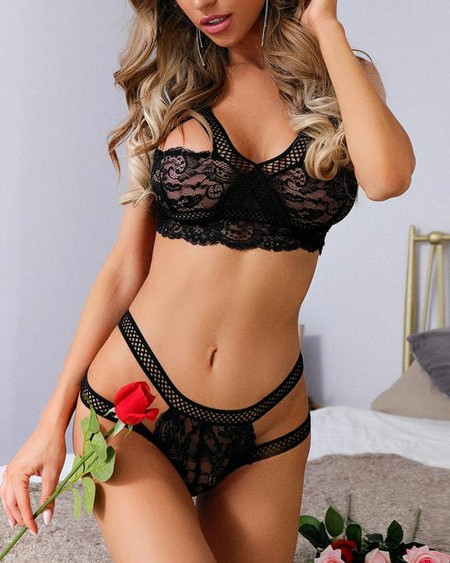 Hollow-out Splicing Lace Solid Color Spaghetti Strap Bra Sets