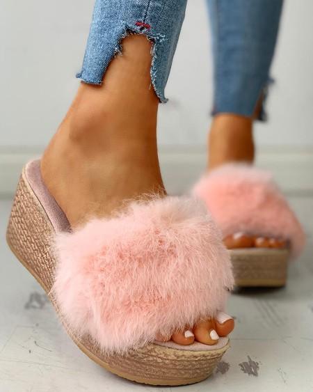 Fluffy Platform Wedge Heeled Sandals