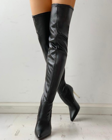 boutiquefeel / Zipper Knee-High Thin Heel Boots