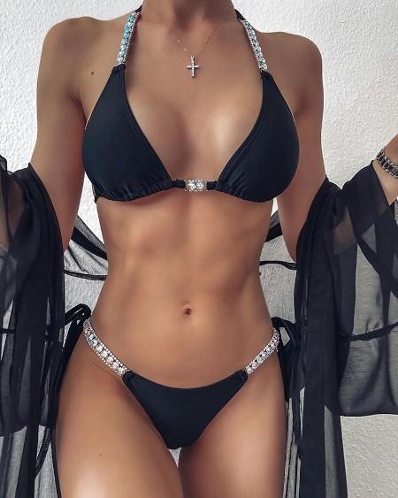 Rhinestone Tied Detail Halter Bikini Set
