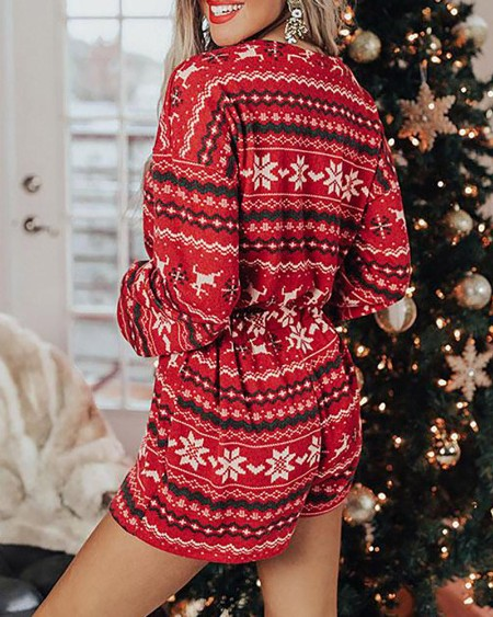 Christmas Mixed Print Drawstring Pajamas Set