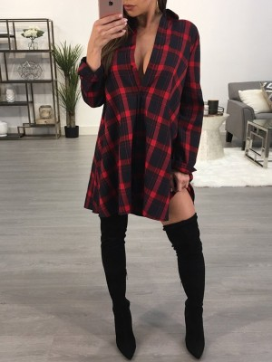 Fashion Plaid Casual Shirt Dress