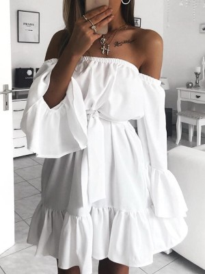 White Off Shoulder Flared Sleeve Casual Dress