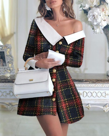 Colorblock Long Sleeve One Shoulder Buttoned Dress