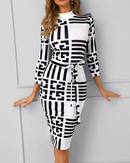 Striped Colorblock Insert Bodycon Dress