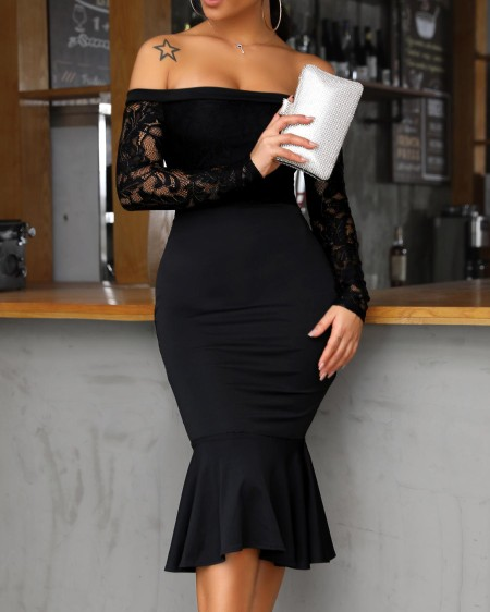 Off Shoulder Lace Insert Ruffles Bodycon Dress