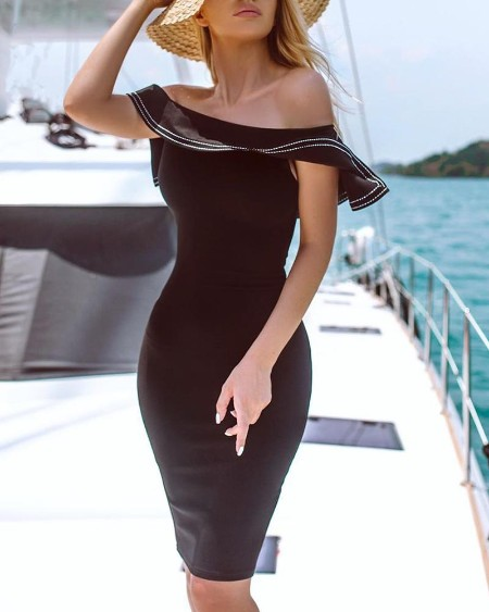 Off Shoulder Fold-Over Bodycon Dress