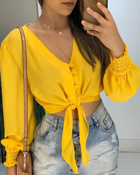 V-Neck Knot Buttoned Shirring Cuff Blouse