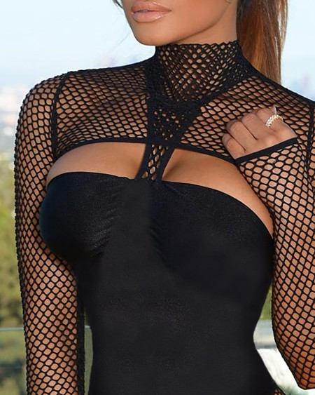 Hollow Out Long Sleeve One Piece Swimsuit