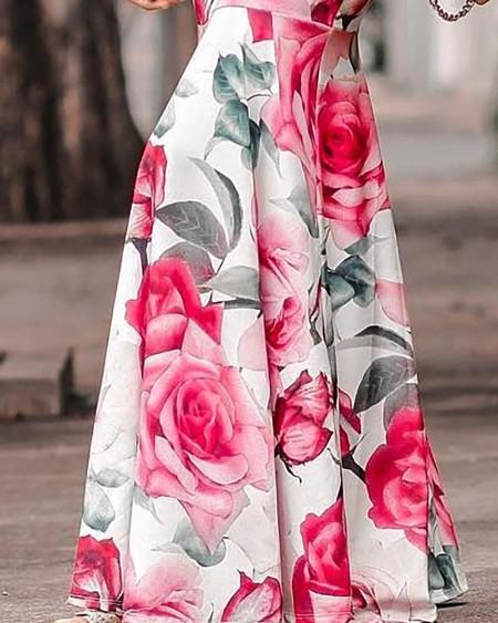 Floral Print Fishtail Maxi Dress
