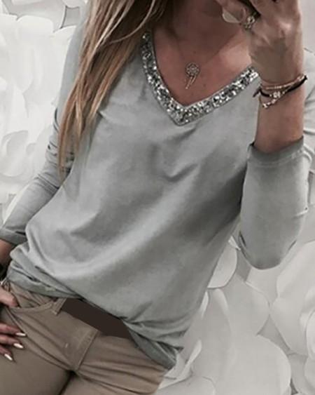 V-Neck Sequins Patch Long Sleeve Blouse
