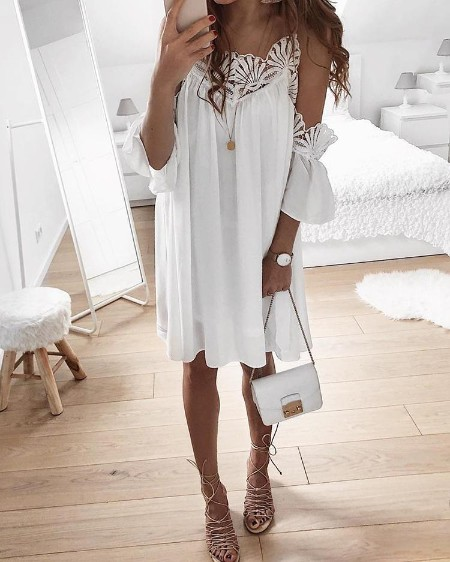 Guipure Lace Cold Shoulder Casual Dress