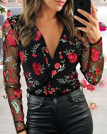 Mesh Floral Embroidery Plunge Blouse