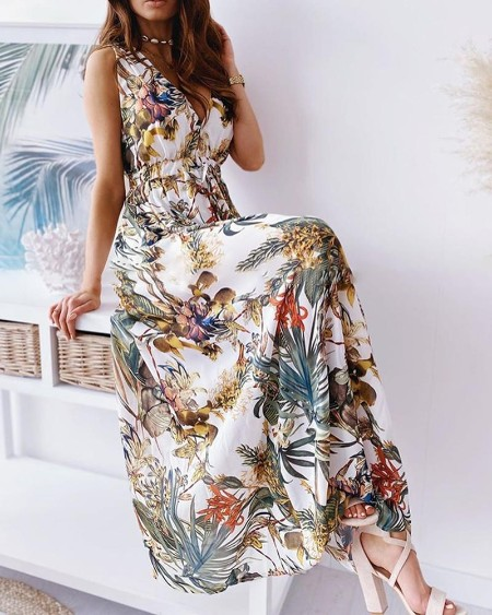 Tropical Print Tied Detail Backless Maxi Dress