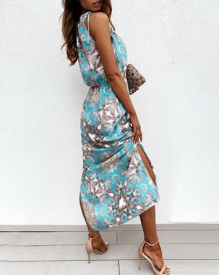 Retro Print Sleeveless Maxi Dress