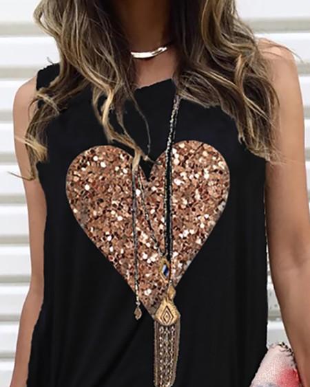 Heart Pattern Sequins Sleeveless Round Neck T-shirt