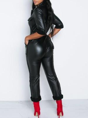 Pocket Zipper Design Belted PU Jumpsuit